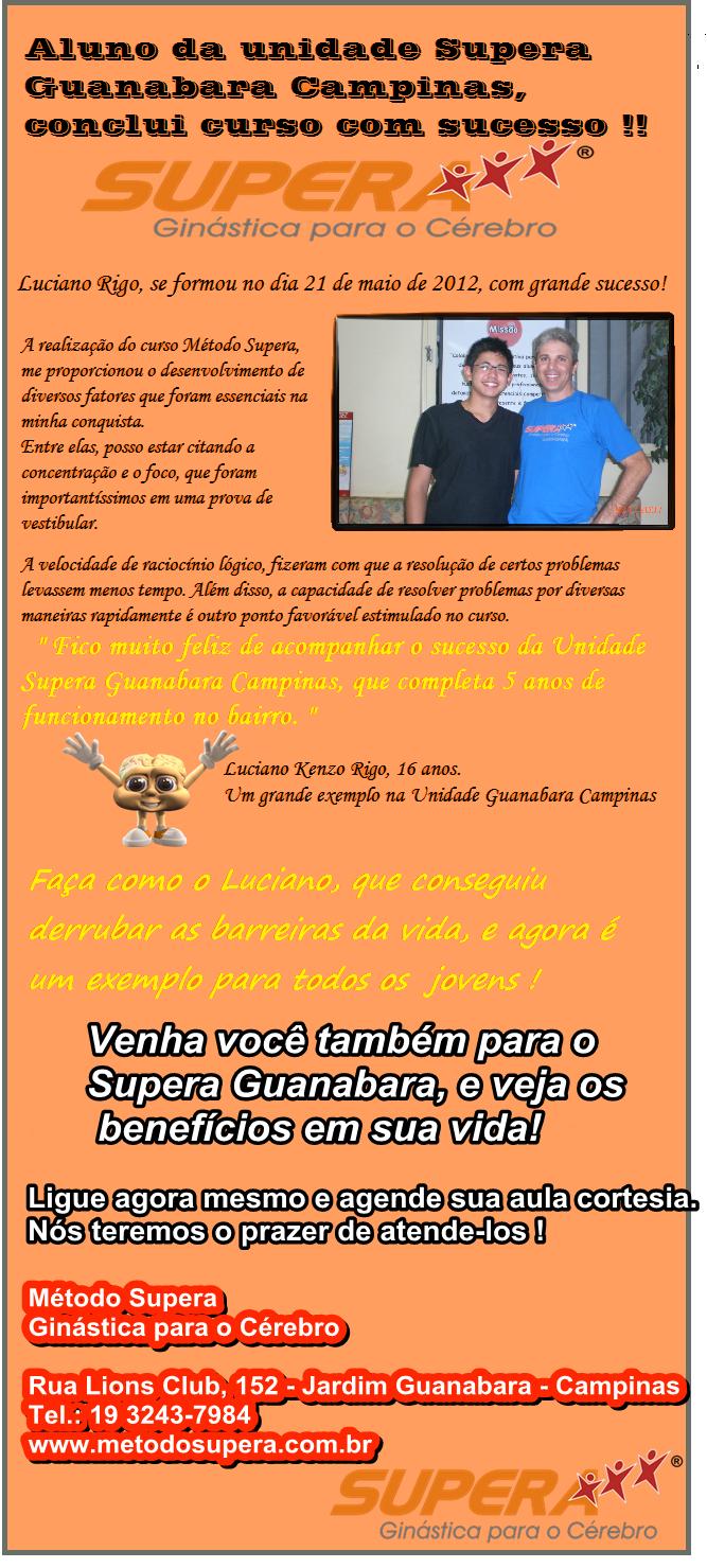 Aluno de Campinas-Guanabara termina o curso Supera com sucesso - SUPERA - Ginástica para o Cérebro