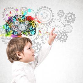 Na imagem, uma lousa com um cérebro desenhado e cheio de cores e uma criança.